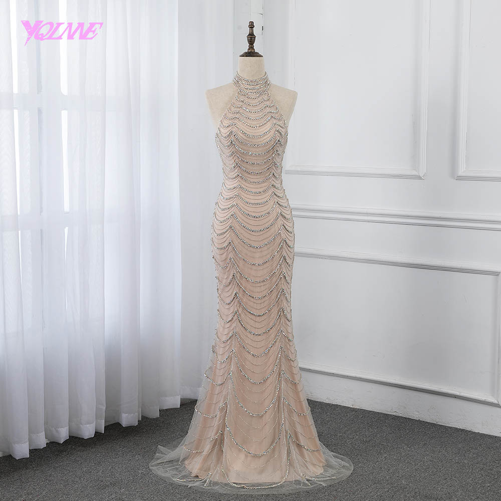 2019 Nude Long   Evening     Dress   Halter Crystals Beading Pageant   Dresses   Formal Mermaid Gowns YQLNNE