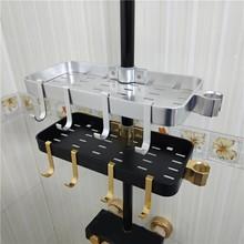 Cesta de chuveiro dourada e de alumínio, suporte organizador de banheiro e chuveiro, com gancho e montagem na parede