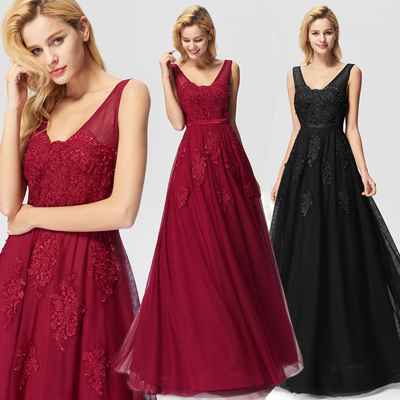Black   Prom     Dresses   Elegant Ever Pretty EP07723 New Arrival A-line Sleeveless Tulle Burgundy Long Party Gowns Vestido De Gala