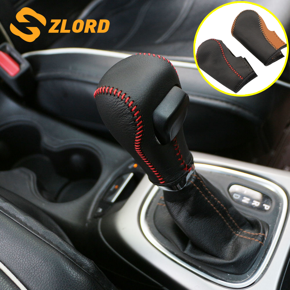 Zlord Leather Interior Car Gear Head Shift Knob Cover Gear Shift Collars Case for <font><b>Jeep</b></font> <font><b>Compass</b></font> 2th 2016 2017 2018 <font><b>2019</b></font> image