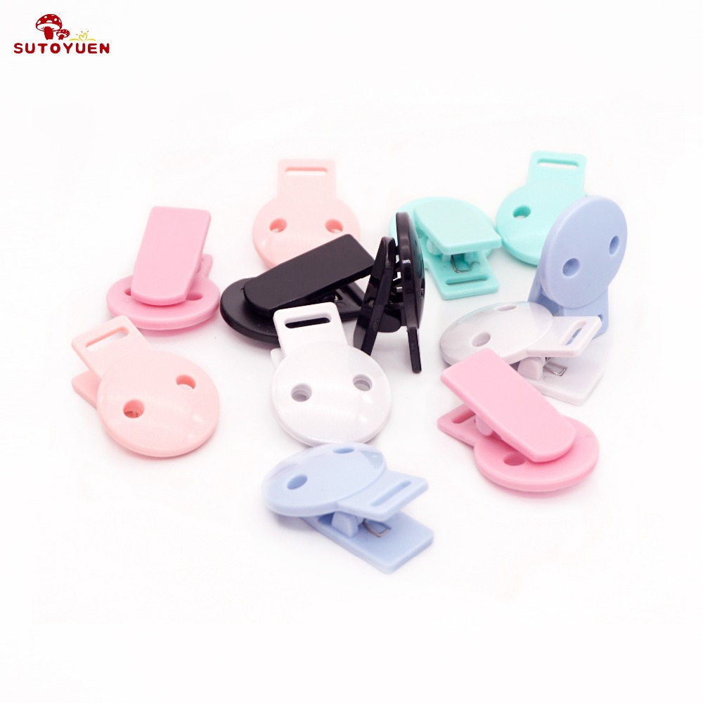 20pcs Colored Plastic Suspender Soother Pacifier Clip Toy Holder Dummy Clips