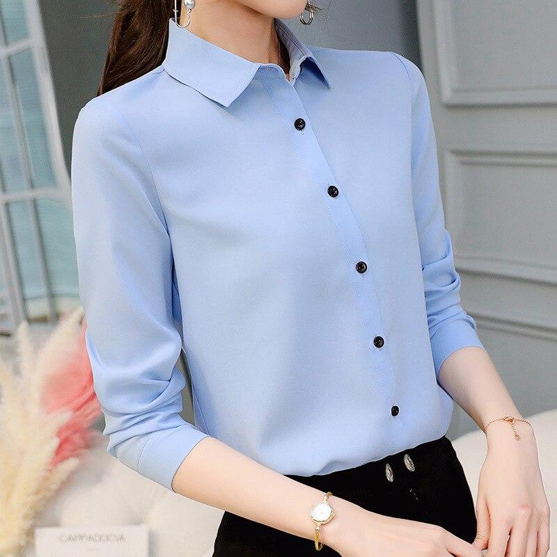 Mulheres camisas da senhora do escritório tops primavera moda manga longa fino branco chiffon blusa camisa femme blusa feminina casual camisa azul