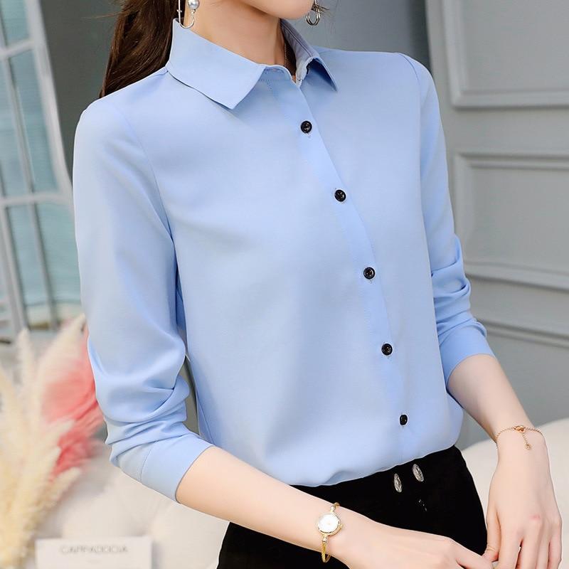 Women Office Lady Shirts Tops Spring Fashion Long Sleeve Slim White Chiffon Blouse Shirt Femme Blusa Feminina Casual Blue Shirt
