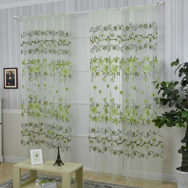 2018 Creative  Big Sale Curtains Sunflower Printed Voile Door Window Balcony Sheer Screening Green Pink Blinds