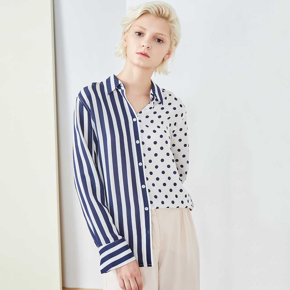 93f071340f5 100% шелковая блузка женская рубашка с разрезом дизайн Turn-Down воротник с  длинными рукавами