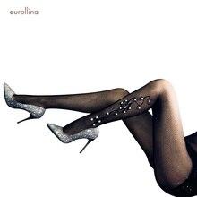 Glitter Bling Fishnet Thin Pantyhose Nylon Sequin Stockings Flickering Crystal Pearl Beads Alluring Mature Women Stocking