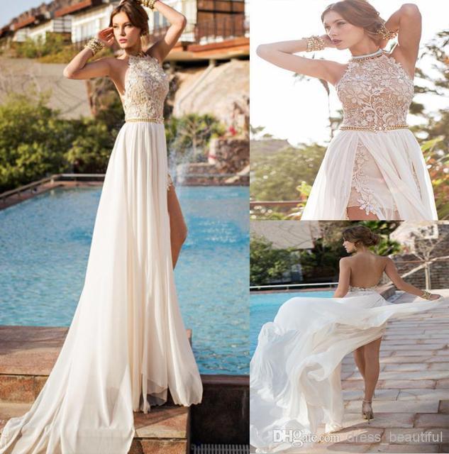 2015 Backless Wedding Dresses Eden Halter Neck Chiffon Wedding Dress ...