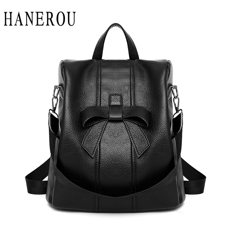 HANEROU Fashion Women Pu Leather Backpack Solid Ladies Back Packs Sweet School Bags Preppy Style Mochila 2018 New Hot Sell Bag