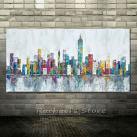 Hand Painted New York Skyline Cityscape Architecture Vivid Abstract Wall Art Oil Painting On Canvas Picture Home Room Decoration