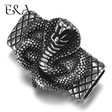 Stainless Steel Slider Beads Cobra 12*6mm Hole Slide Charms for Men Leather Bracelet Punk Jewelry Making DIY Supplies