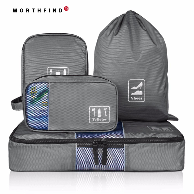 WORTHFIND 4 pcs/set Fashion Travel Portable Multi-functional Travel Clothing Bag Makeup Wash Storage Bag