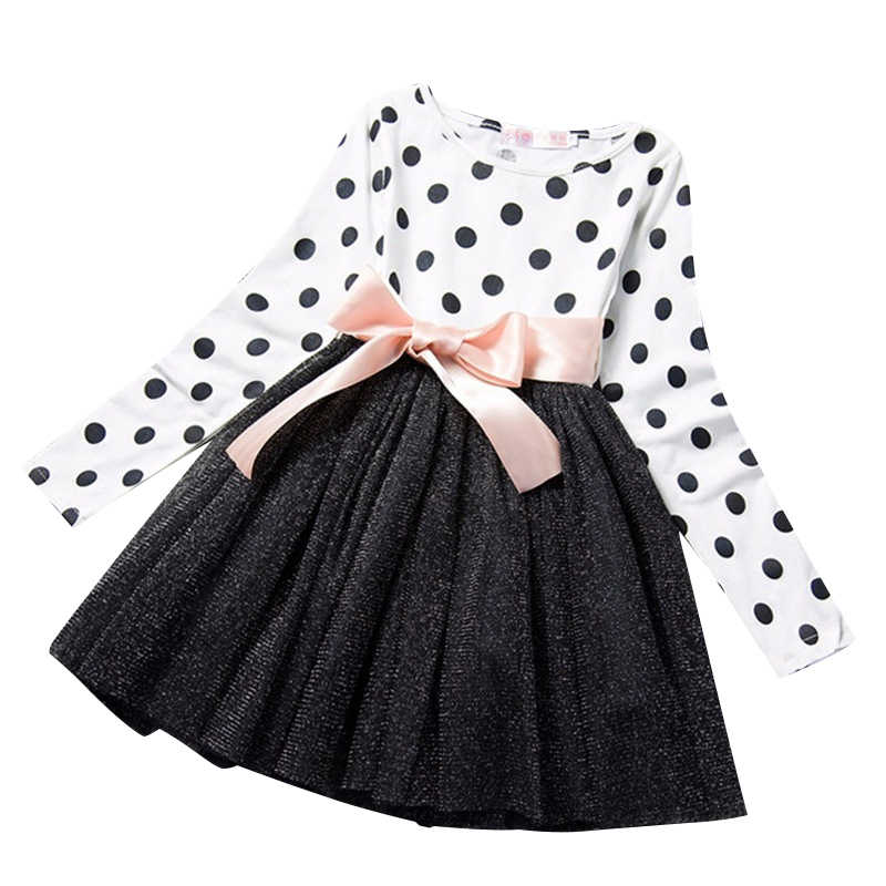 7aaa6665a413 New Baby Spring Dress For Girl Long Sleeve Bow Princess Girls School Dresses  Polka Dot Toddlers