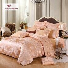 SlowDream Luxury Bedding Set Silk Duvet Cover Bed Linen Euro Cotton Home Decor Bedspread Sheet Pillowcases Adult