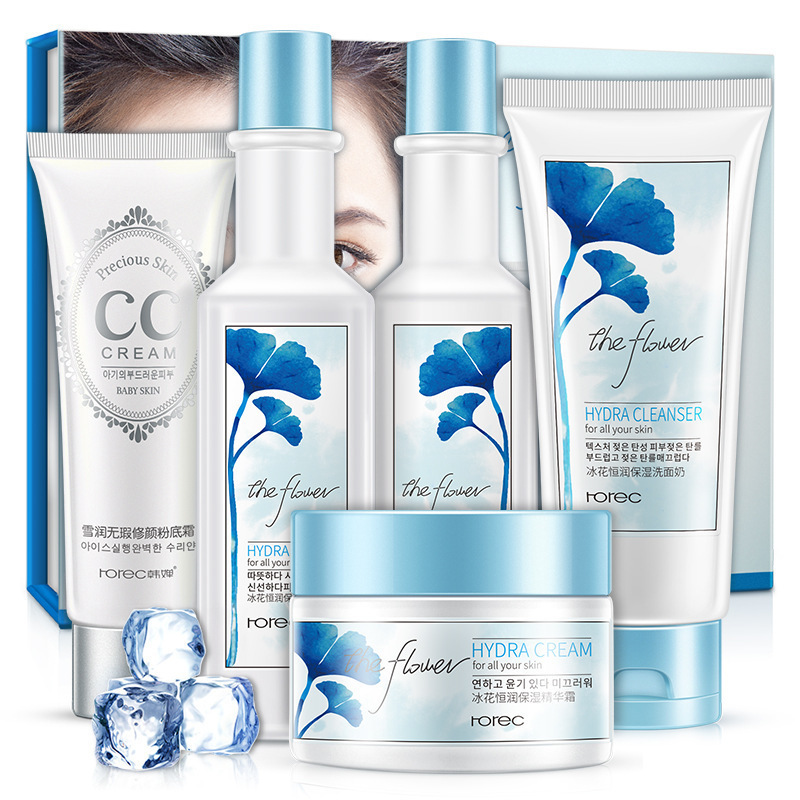 ROREC Ice Flower Nourishing & Moisturizing Set Skin Care Anti-aging Brightening Cleanser, Toner, Lotion, Cream, CC Cream chanel 5ml cc cc cream