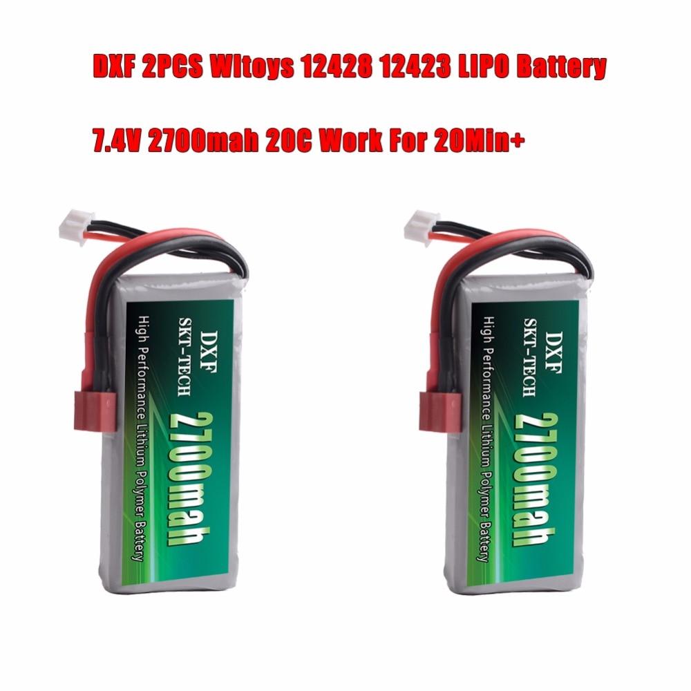 DXF 2 piezas 2 s 7,4 V 2700 mAh 20C Max 30C para Wltoys 12428 12423 1:12 RC Car partes Rc Lipo batería
