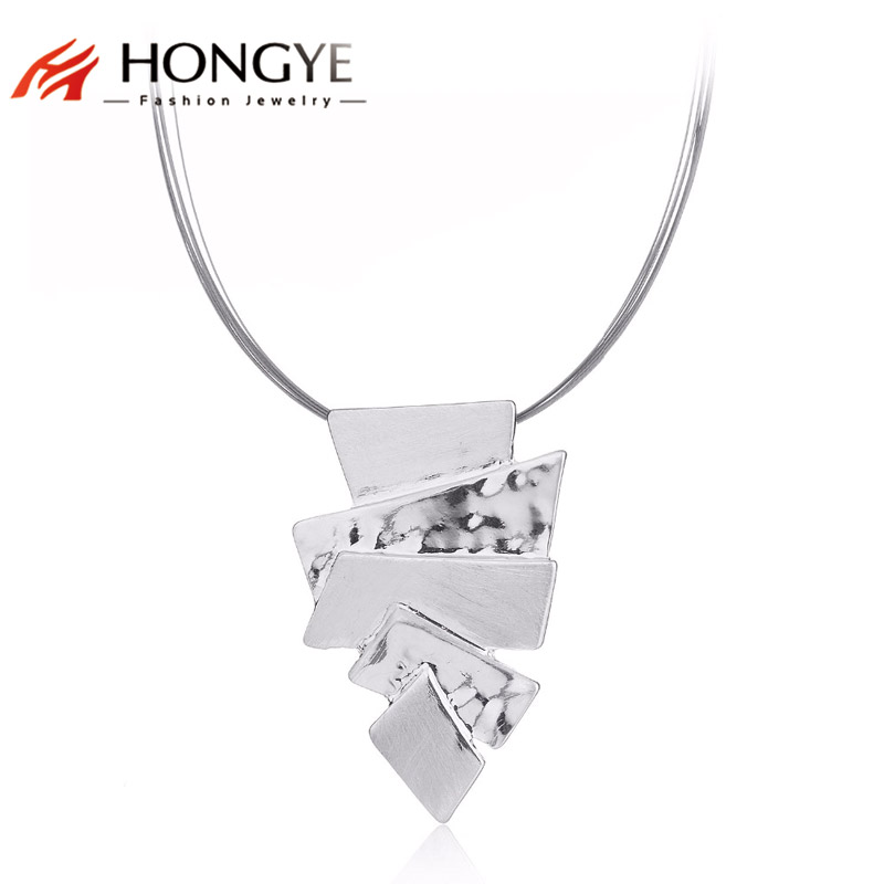 HONGYE Women Unique Stylish Jewelry Silver Irregular Geometric Torques Chokers Necklace Pendant Unisex Power Charm Accessories