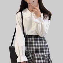 Ruffles Blouse Shirt Women 2019 Button Preppy Style Peter Pan Colla Blouses Ladies Long Sleeve White Woman Clothes Chemise Femme
