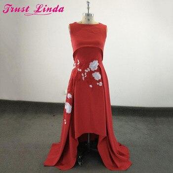 771d51e6e1 Confianza Linda Borgoña bordado largo vestido de dama 2018 nuevo satén rojo  largo desgaste nupcial del partido vestidos sin mangas vestido de fiesta