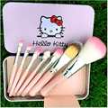 7 pcs olá kitty pincéis de maquiagem Superior profissional suave cosméticos nu Make up jogo de escova ferramentas Kit de higiene maquiagem da mulher