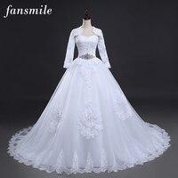 Free Shipping 2016 Bridal White Wedding Dress Long Sleeve With Jacket Plus Size Bridal Gown Vestido