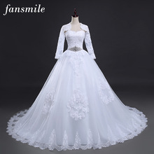 Fansmile Two Piece Long Sleeve Jacket Wedding Dresses 2017 Plus Size Bridal Ball Gowns Vestido de noiva Robe De Mariage FSM-122T
