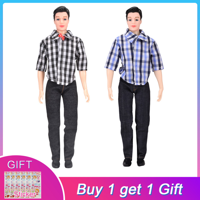 0c908358b2a UCanaan Toys 1 PC Boy Doll with Clothes Suit Casual Wear Plaid Doll Clothes  Jacket Pants Outfits For Ken Dolls
