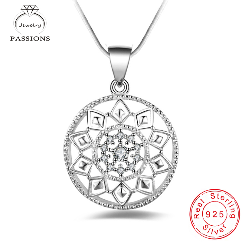 Newest Bohemian Exquisite Round Sun Flower Pendant Necklace 925 Sterling Silver