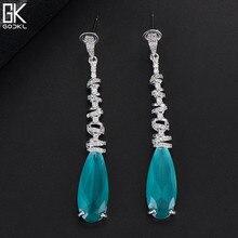 Godki luxo gota de água longo balançar brincos para o casamento feminino zircão cúbico cristal cz dubai brincos de noiva moda jóias