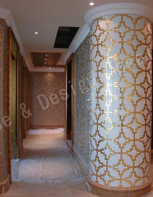 Imitiert Gold Spiegel Gemischt Weiss Glas Kupfer Bargeld Glas Mosaik