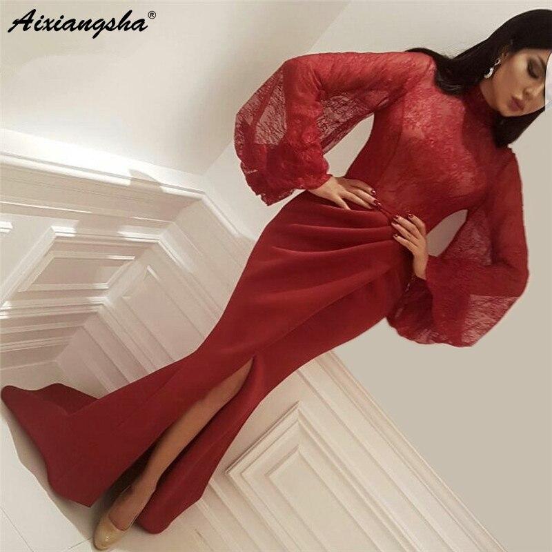 Illusion Lace Top Sexy Slit Mermaid Saudi Arabic Evening Gowns Vestido De Formatura Longo Elegant Prom Dresses Long