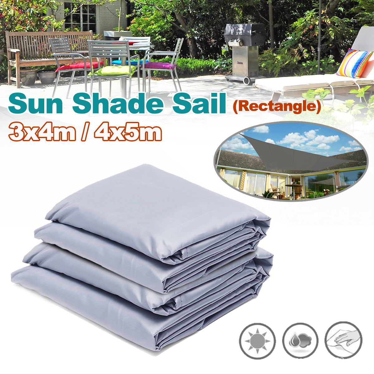 3x4m/4x5m Rectangle Waterproof Sun Shade Awning Cover Cap Uv-resistant Furniture Rectangle Dust Cover Outdoor Garden Garden Supplies
