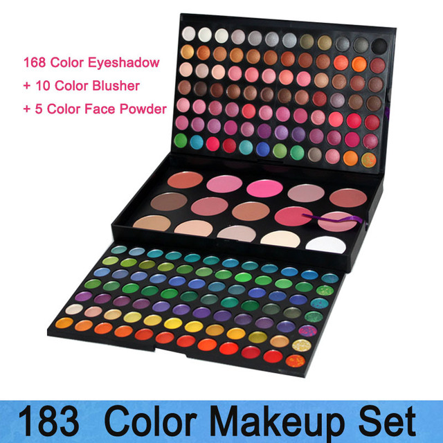 Dropshipping! Professional Make up Set 183 Color Eyeshadow + Blusher + Foundation face powder makeup palette Free Shipping