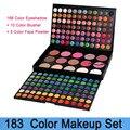 Dropshipping! Professional Make up Set 183 cores de sombra + blush + Foundation pó facial makeup palette frete grátis