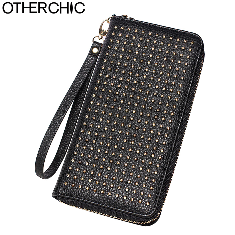 New Fashion Women Rivet Wallets Stylish Large Zipper Long Wallet Coin Purse Women Clutch Phone Pouch Female Purses Bag 6N08-07 fashion women coin purses dots design mini girl wallet triple zipper clutch bag card case small lady bags phone pouch purse new