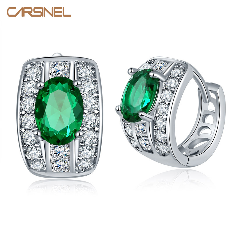 CARSINEL 7 Cores Hot Selling Cubic Zirconia Hoop Earrings for Women Girls Design Jewelry Earrings ER0290