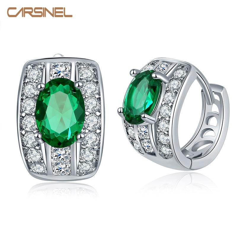 CARSINEL 7 Colors Hot Selling Cubic Zirconia Hoop Earrings for Women Girls Design Jewelry Earrings ER0290