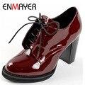 ENMAYER женская Мода Ботильоны на Шнуровке Платформы Женщин Сапоги для Женщин Свадебные Туфли На Высоких Каблуках Мотоцикла Сапоги обувь Женщина
