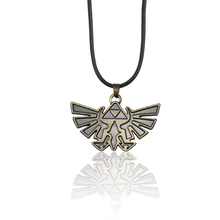 Classic Hot Anime Game Alloy Wings Necklace Pop Retro Zelda Legend Men's Necklace Engraving ZELDA Leather Pendant Necklace anime game series the legend of zelda pendant necklace kids jewelry stainless steel triforce symbol triangle layered necklace