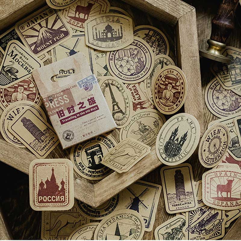 46Pcs/box Old Time Trip Stamp Stickers Scrapbooking Stationery For Adhesive Postcard Envelope Album Diary Planner Sticker Label