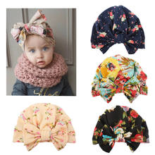 0-4Y Newborn Toddler Kids Baby Girl Flower Hats 2018 Brand New Turban Cotton Beanie Hat Winter Cap Lovey(China)