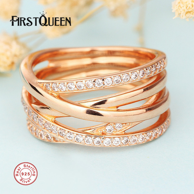 FirstQueen Supersale High Quality Entwined Ring, Clear CZ & Rose Gold Rings For