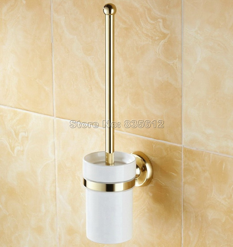 Bathroom Accessory Wall Mounted Gold Color Brass Bathroom Toilet Brush Holder Set Wba237