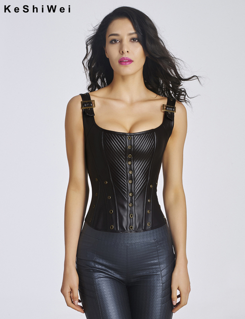TITIVATE Sexy Women Synthetic Leather Steampunk Corselet Steel Boned Waist Overbust Corset Body Shapewear Bustier Tops