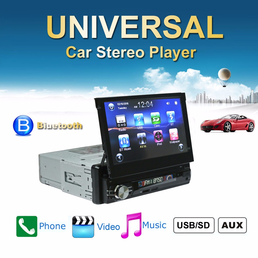 7 inch GPS Car MP5 Player Retractable Touch Screen Bluetooth Auto Radio Players Stereo Audio FM Music USB Steering Wheel Control 10 languages 2 din 7 inch car stereo mp5 radio player steering wheel control touch screen bluetooth mp4 player fm tf usb