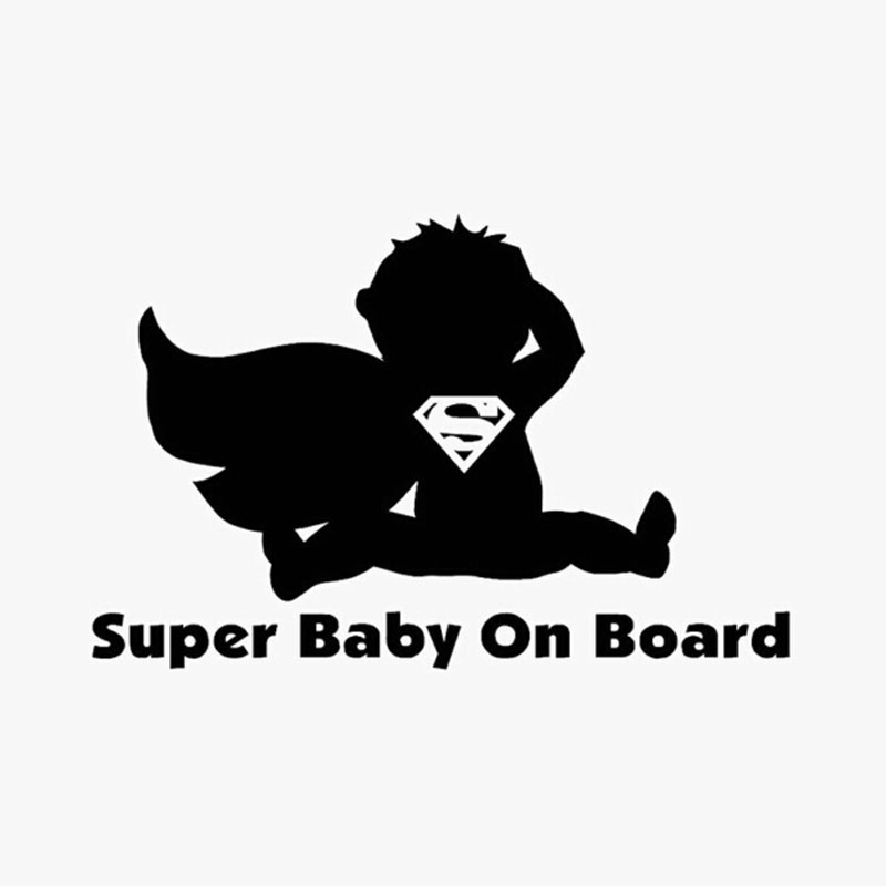 14.3CM*9.5CM Creative Personality Fashion Super Baby On Board To Remind Funny Stickers C5-0559