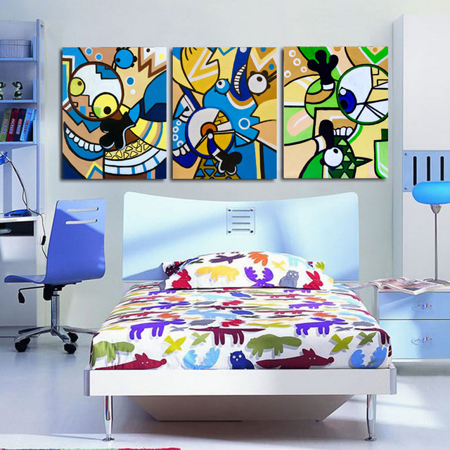 3 Pieces Modern Handmade Painting Abstract Minions On Oil Canvas For Child  Room Decor And Wall Art Poster