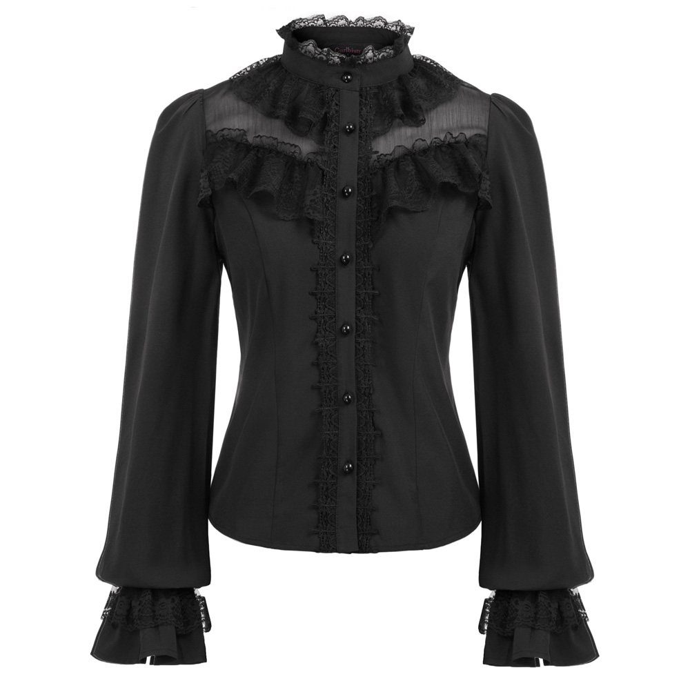Retro Shirt Women Tops Vintage Long Sleeve Blouse Club Party Evening Stand Collar Lace Ruffle Shirt Lolita Gothic Lace-up Tops