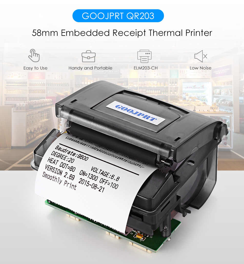 GZ5804 Asli Goojprt QR203 58 Mm Mini Tertanam Mikro Penerimaan Termal Printer RS232/TTL