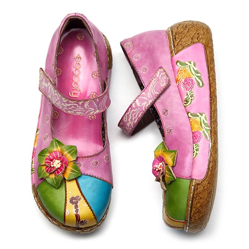 Socofy Retro Echtes Leder Mary Jane Schuhe Frauen Wohnungen Neue Vintage Bohemian Handmade Blume Haken Schleife Flache Ferse Damen Schuhe