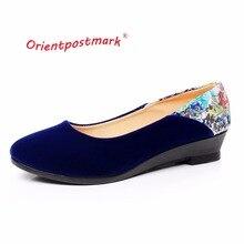 Новые китайские ткани Обувь элегантные клинья с цветочным принтом Женская обувь на танкетке женские балетки лодка обуви oversize orientpostmark